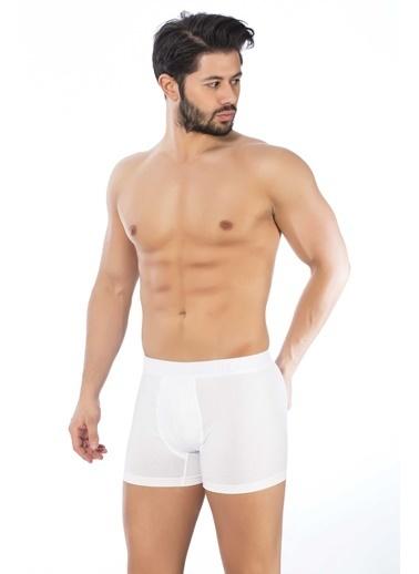 Elitol  Pamuklu Likralı Boxer Beyaz